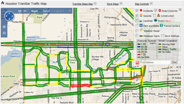 City Of Houston Arterial Travel Time Map
